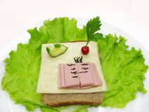 Creative vegetable sandwich with ham Stock Photo
