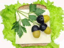 Creative vegetable sandwich with olives Royalty Free Stock Images