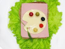 Creative Vegetable Sandwich With Cheese And Ham Royalty Free Stock Photo
