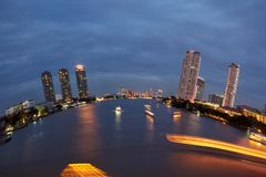 Creative view on the Chao Praya river Stock Photo