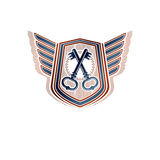 Creative vintage emblem with old keys, vector heraldic design, p Stock Photography