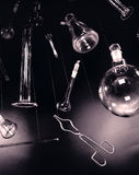 Creative and vintage setup with laboratory equipment. Stock Images