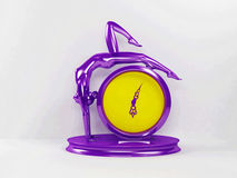 Creative violet and yelllow clock Stock Photo