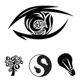 Creative vision eye and symbols of ideas. Creative vision eye and 3 symbols of creativity and ideas Royalty Free Stock Images