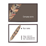 Creative visit card in indian style with feather. Vector Creative visit card in indian style with feather Stock Images