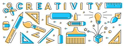 Creative Visualization. Colorful Outlined Flat Design. Design Stuff Illustration. Geometric Objects. Geometric Objects. Creative Visualization. Colorful Outlined stock illustration