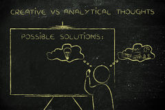 Creative vs analytical thoughts: man writing on blackboard Royalty Free Stock Photos