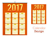 Creative Wall Calendar of 2017. Creative Wall Calendar design of New Year, 2017 Stock Photos