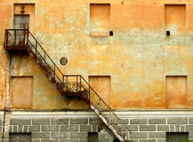 Creative wall. Old wall with unusual architecture and stairs royalty free stock photos
