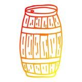 A creative warm gradient line drawing cartoon beer barrel. An original creative warm gradient line drawing cartoon beer barrel vector illustration