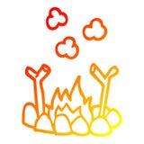 A creative warm gradient line drawing cartoon camp fire. An original creative warm gradient line drawing cartoon camp fire vector illustration