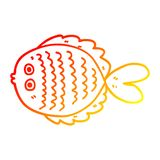 A creative warm gradient line drawing cartoon flat fish. An original creative warm gradient line drawing cartoon flat fish royalty free illustration