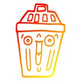 A creative warm gradient line drawing cartoon waste bin. An original creative warm gradient line drawing cartoon waste bin stock illustration