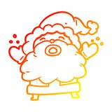 A creative warm gradient line drawing santa claus shouting in frustration. An original creative warm gradient line drawing santa claus shouting in frustration royalty free illustration
