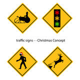 Creative warning traffic signs with Christmas concept, vector Royalty Free Stock Photography