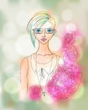 Creative Watercolor Vector Hipster Girl Portrait. Creative Watercolor Hipster Girl Portrait with Bokeh and Peonies. EPS 10 Vector Illustration. Fashion Concept Royalty Free Stock Image
