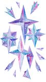 Creative Watercolor Vignette with Frozen Crystals. Hand-painted illustration with blue and purple geometric ice shapes Stock Photography