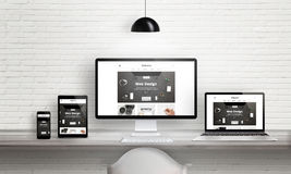 Creative web design agency presentation on multiple devices. Computer display, laptop, tablet, smart phone on white wooden desk. Brick white wall in background vector illustration