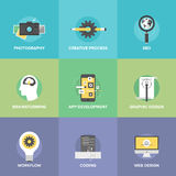 Creative web development flat icons set Royalty Free Stock Photography