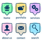 Creative website menu icons Royalty Free Stock Images