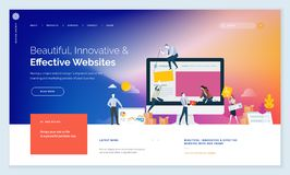 Creative website template design. Vector illustration concept of web page design for website and mobile website development. Easy to edit and customize stock illustration