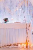 Creative wedding table with cake and candles Royalty Free Stock Photography