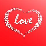 Creative white heart. Creative heart with silhouette consist of small white hearts Royalty Free Stock Photo