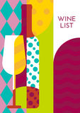 Creative wine bottle, glass with multicolor pattern. Vector abst Royalty Free Stock Images