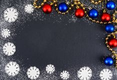 Creative winter snowflakes from powdered sugar background. Christmas and New Year backgrounds. Stock Photography