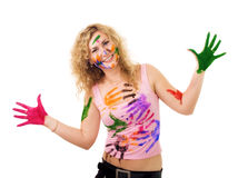 Creative woman. Creative young blond woman with curly with color fingerprings stock photography