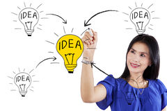 Creative woman drawing her idea concept Royalty Free Stock Photography