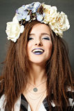 Creative Woman. Fashion Makeup and Flowers Stock Photos