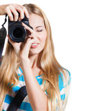 Creative woman photographer takes photos Stock Photo