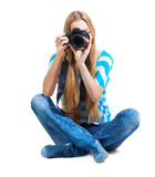 Creative woman photographer takes photos Stock Image