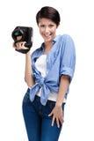 Creative woman-photographer takes snapshots Stock Image