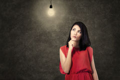 Creative woman thinking bright idea Royalty Free Stock Photography