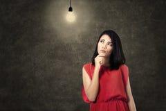 Creative woman thinking bright idea Royalty Free Stock Photography