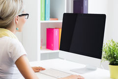 Creative woman working with computer in the office Royalty Free Stock Photography