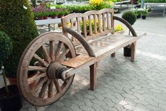 Creative wooden garden bench Royalty Free Stock Image