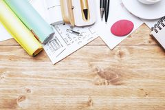 Creative workplace with objects. Creative wooden office workplace with supplies, various other objects and copy space.Top view. Lifestyle and occupation concept Stock Image