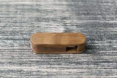 Creative wooden usb stick on dark background Stock Photography