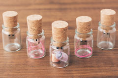 Creative wooden usb stick like a Message in the bottle on  background Royalty Free Stock Images