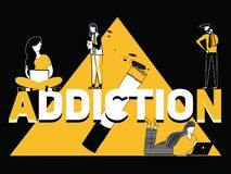 Creative word concept Addiction and people doing things stock illustration