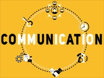 Creative Word concept Communication and icons illustration stock illustration