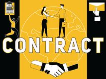 Creative Word concept Contract and People doing things vector illustration
