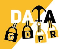 Creative Word concept Data and GDPR royalty free illustration