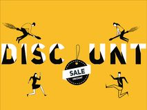Creative Word concept Discount and People doing things stock illustration