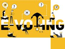 Creative word concept E-Voting and people doing things vector illustration