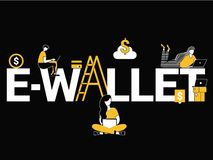 Creative Word concept E-Wallet and People doing activities vector illustration