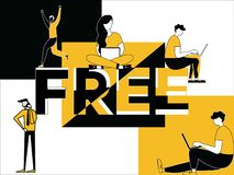 Creative Word concept Free and People doing activities vector illustration